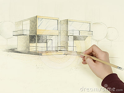 Woman s hand drawing architectural sketch of house