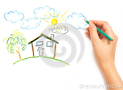 Woman s hand drawing the dream home