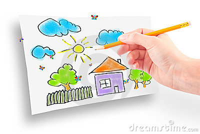 Woman s hand and dream home