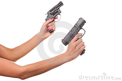 Woman s hand with a gun