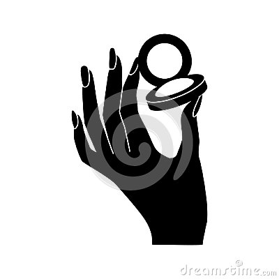 Free Woman`s Hand Hold Eye Shadow Vector Icon Royalty Free Stock Photography - 115664367