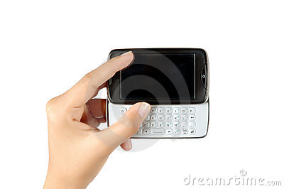 Woman s hand holding the mobile phone touch screen
