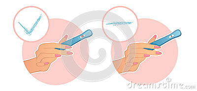 Woman s hand holds a test on pregnancy