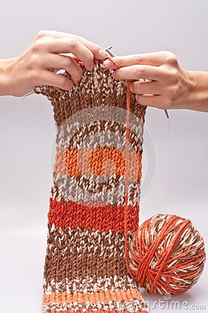 Woman s hand knit knitting yarn