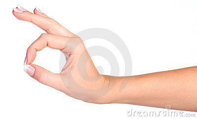 Woman s hand making sign Ok