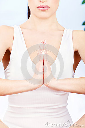 Woman s hand in a spritual position