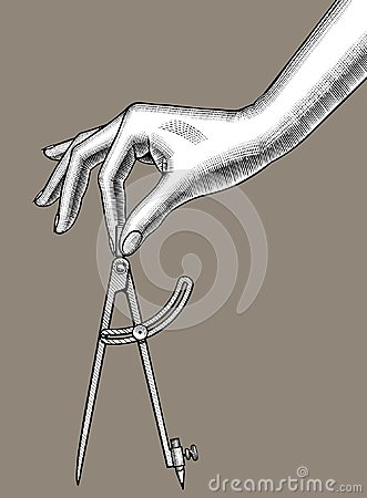 Free Woman`s Hand With A Compass For Drawing Royalty Free Stock Photos - 108941938