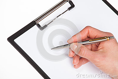 Woman s hands holding blank sheet of paper in a clipboard