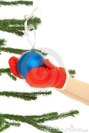 Woman s hands holding christmas toy