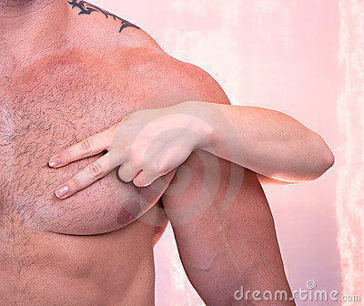 Woman s hands on a  man s torso