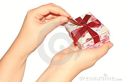 Woman s hands opening present box
