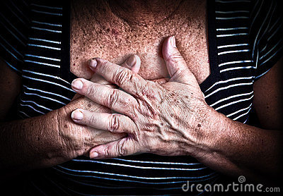 Woman s hands over her chest