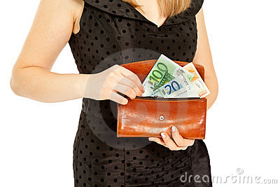 Woman s hands with purse and money