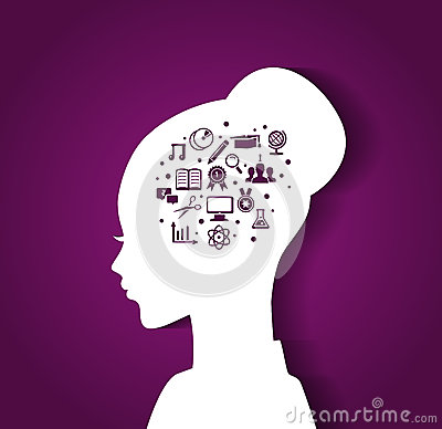 Woman s head with education icons