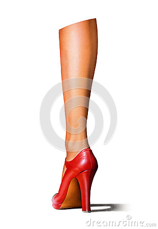 A woman s leg with a red high-heeled shoe