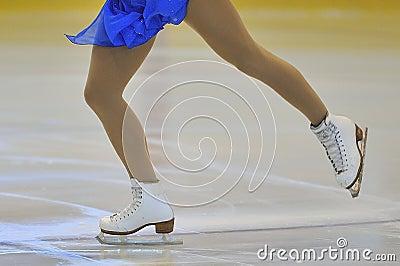 Woman s Legs in Ice Skates