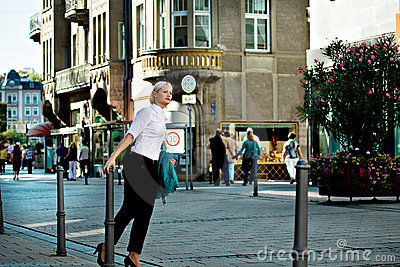 Woman s portrait in the city