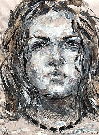 Woman`s portrait gouache paints etude