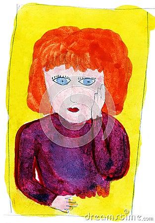 Woman s portrait - hand drawn illustration