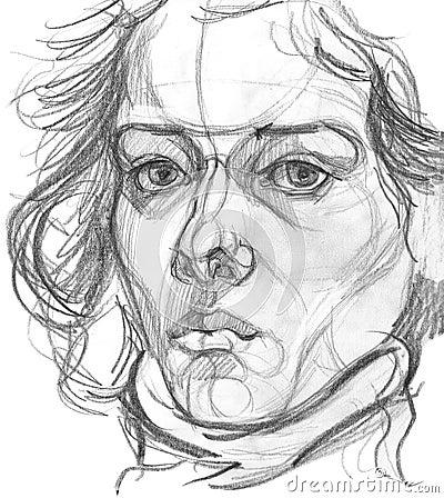 Woman`s portrait pencil sketch