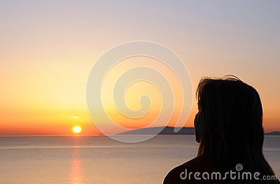 Woman s Silhouette at Sunrise
