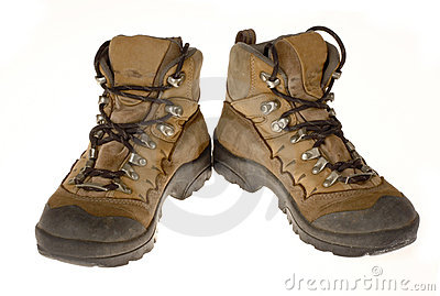Woman s Well Worn Hiking Boots, Isolated