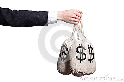 Woman with sacks of money