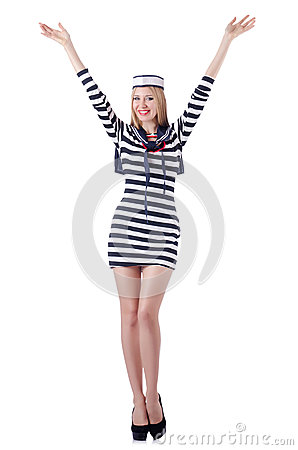 Woman sailor isolated