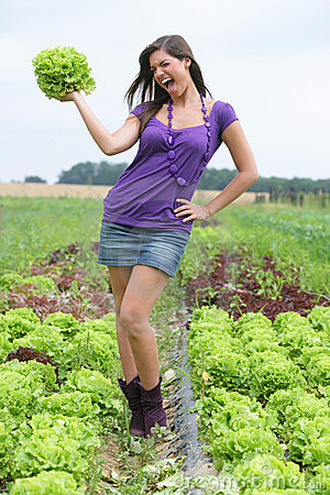 Woman with a salad.