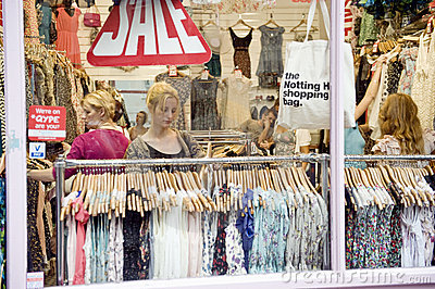 Woman sale shopping london Editorial Photo
