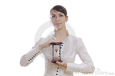 Woman with sand clock