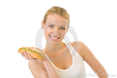 Woman with sandwich, isolated