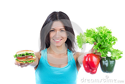 Woman with sandwich peppers salad