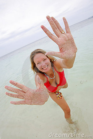 Woman with Sandy Hands