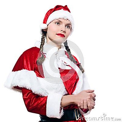 Woman santa claus christmas shopping