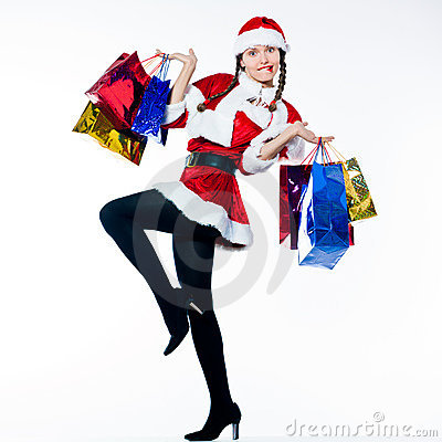 Woman santa claus christmas shopping