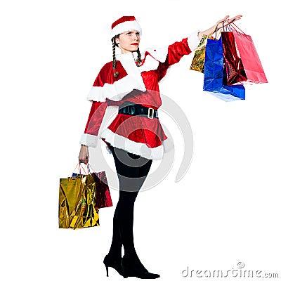 Woman santa claus christmas shopping proud