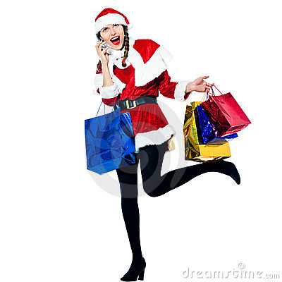 Woman santa claus christmas shopping telephone