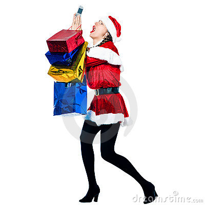 Woman santa claus christmas  telephone despair