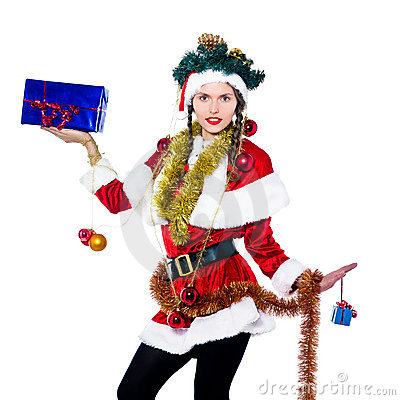Woman santa claus christmas tree