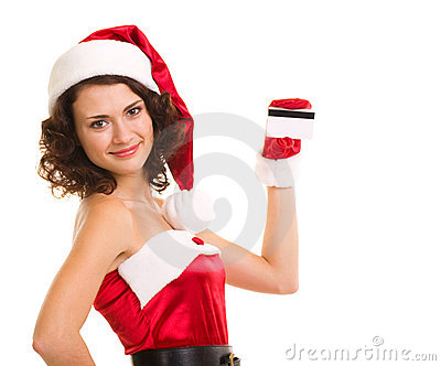 in santa claus clothes with credit card royalty free