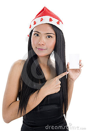 Woman with santa claus hat and business card