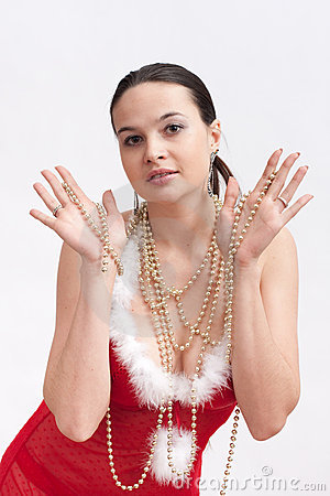 Woman in santa dress with spangle
