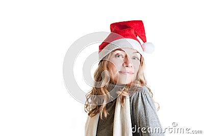 Woman in Santa hat