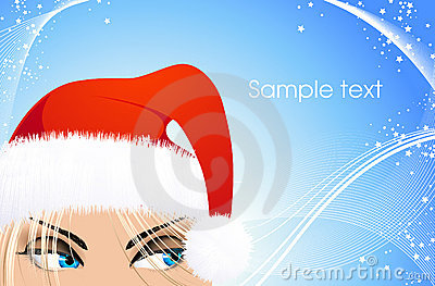 Woman with Santa hat on blue Christmas background