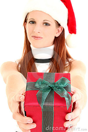 Woman in Santa Hat Handing Out Gift