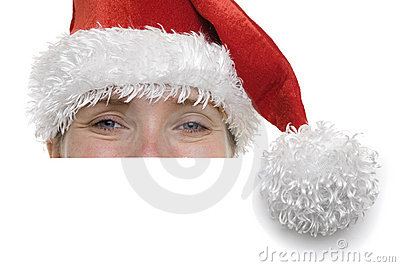 Woman in Santa Hat with Sign