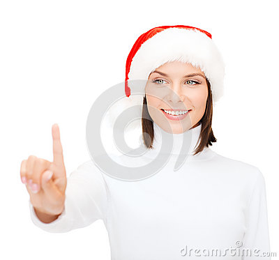 Woman in santa helper hat pressing vitrual button