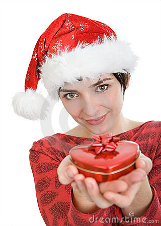 Woman with Santa s cap