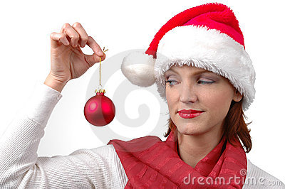 Woman with Santa s hat with christmas ornament
